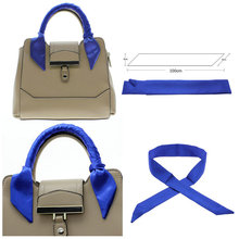 Cheap Women Fashion Scarves Bag Handle Faux Silk Scraf Small Ribbon Handbag Handle Decor Solid Color 100*4cm
