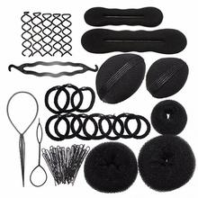 Brand NEW 9 In 1 Pro Hair Bun Clip Maker Pads Hairpins Roller Braid Twist Sponge Styling Accessories Tools Kit Set Free Shipping
