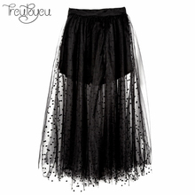 Cheap Sexy Skirts Womens Fashion Maxi Long Black Polka Dots Pleated Tulle Skirt Mesh Women Skater Skirt Elastic Waist(China)