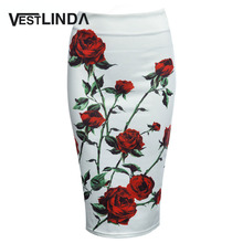 VESTLINDA Vintage Women Pencil Skirt High Waist White Pattern Bodycon Ladies Midi Skirt Floral Print Slim Hip Pencil Skirt(China)
