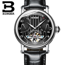 Switzerland watches men luxury brand BINGER business sapphire Water Resistant leather strap Mechanical Wristwatches B-1172-2(China)