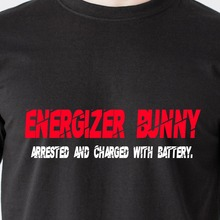 Energizer Bunny arrested and charged with battery. cop jail retro Funny T-Shirt Summer 2017 Famous Brand Gildan