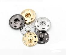 2016 Wooden Buttons Hot Sale!50sets/lot 2 Parts Sew On Snaps Buttons Metal Brass Press Button Fasteners Silver, Black, Gold(China)