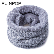 RUINPOP New Fashion Women Men Scarf Unisex Winter Knitted Scarves Cotton Neck Scarf Warmer Woman Crochet Ring Men Boy's Scarf