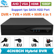 High-End 4 Channels 8 Channels CCTV Recorder DVR HVR NVR TVR 4in 1 Hybrid Video Recorder 1080P Cost Effective with 1pc SATA Port