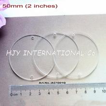 "(30pcs/lot) 50mm 2 Holes Blank Clear Acrylic Circle Necklace Pendants Disc Tags Cutout 2.0"" -AC1001G"