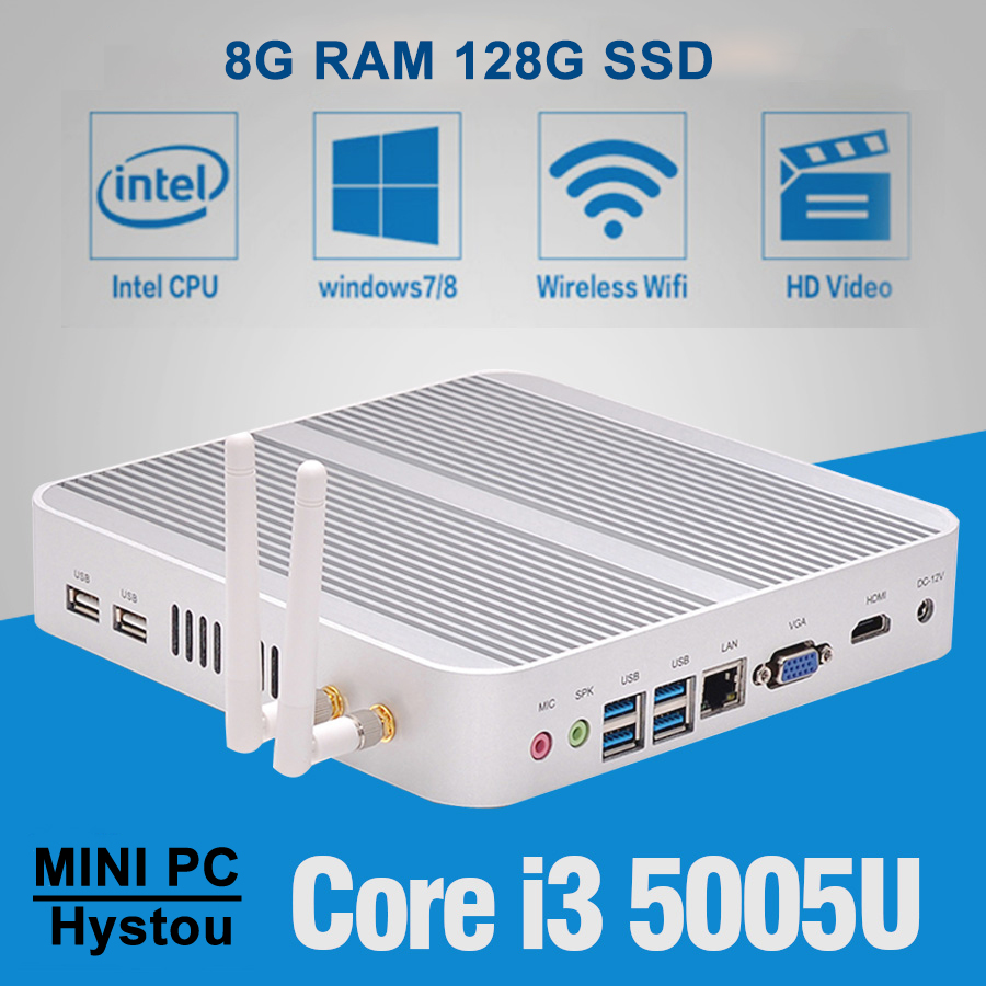 Fanless Mini PC Windows 10 Nano Station PC i3 5005u Barebone System Nuc Mini HDMI Computer Core i3 HTPC Kodi Linux Computer Mini(China (Mainland))