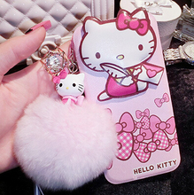 Hello Kitty Flip Stand Leather Case with Rabbit Fur Ball For Apple iPhone 6 6s 6plus.Phone Protective Leather Cover for iphone 6