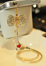 Pattern Fashion style 3.5mm Diamond Bow Design Mobile Phone Ear Cap Dust Plug For Iphone Samsung dust plug