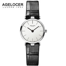 Swiss Ultra Slim Quartz Watches Women Business AGELOCER Brand Leather Analog Women's Fashion 2017 Watch relojes hombre(China)