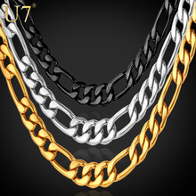 U7 Black/Gold Color Stainless Steel Necklace For Men Jewelry Wholesale 5MM Trendy Long Figaro Chain Necklace Trendy N141