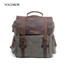 Vintage Large Crazy Horse Leather + Canvas Backpack Men Teenagers School Back Pack Women Laptop Bagpack Travel Bags 2017 - YOGOBOR Store store