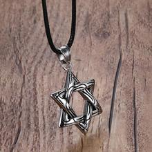 Mprainbow Mens Necklaces Stainless Steel Star of David Pendants Choker Necklace for Men Black Rope Chain Vintage Jewelry 2017(China)