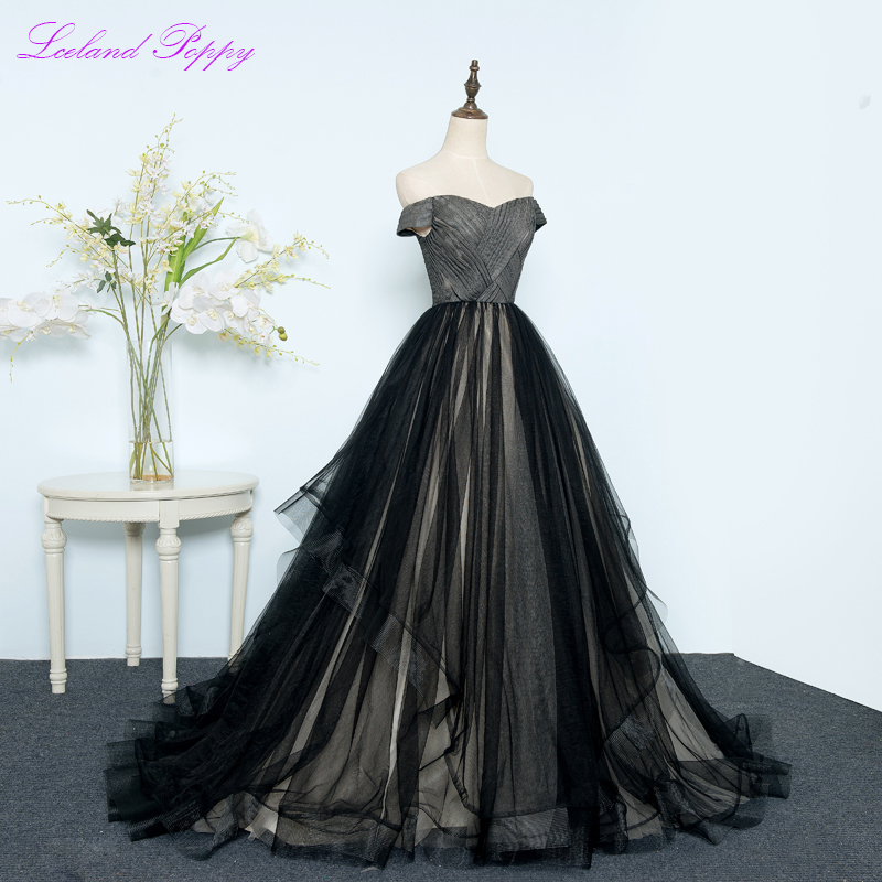 Elegant Women's A-Line Off the Shoulder Tulle Prom Dresses Floor Length Sweep Train Pleated Tiered Sleeveless Formal Dresses