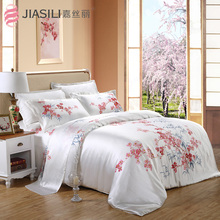 2015 Art painted 100% natural mulberry silk bedding set 4pcs sided 16m / m