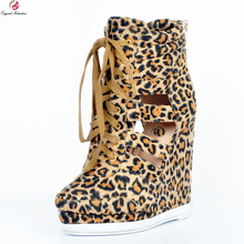 Original Intention New Stylish Women Ankle Boots Nice Platform Round Toe Wedges Boots Sexy Leopard Shoes Woman Plus US Size 4-15(China)