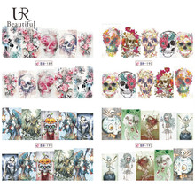 1Sheet Nail Art Stickers HOT Halloween Style Skull Pattern Water Transfer Full Wraps Nail Tips Decals Manicure Decor BEBN189-192(China)