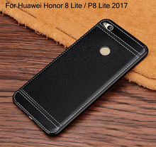 Litchi cortex silicone case for huawei honor 8 lite lychee leather matte soft tpu cover P8 lite 2017 cases coque etui tok kryty(China)