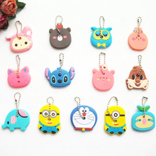Anime Cat Key Cap Silicone Minion Key Chain Women Bag Charm Key Holder Stitch Key Ring Owl Keychain Mickey Hello Kitty Key Cover