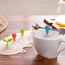 Novelty Anti-dust Silicone Glass Cup Cover Suction Seal Lid Cap Coffee Mug lid with spoon holder