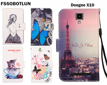 FSSOBOTLUN,For Doogee X10 Phone Case Fashion Painting Patterns PU Leather Wallet Stand Flip Cover 2 Card Slots