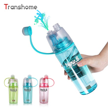 Transhome Hot Spray Water Bottle For Sports Outdoor Dual-use Plastic Bottles For Water Fashion Drinkware 400ML 600ML