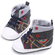 Newest Infant Baby Boy Girl Shoes Lace-up Casual Sneaker Plaid Splice Soft Sole Crib Shoes Prewalkers Car Cartoon Images Cowboy(China)