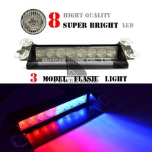 Universal Fit Car Truck Vehicle 8 LED Dash Strobe Warning 3 Model Flash Emergency Light DC 12V Red Blue For Toyota Dodge 1062