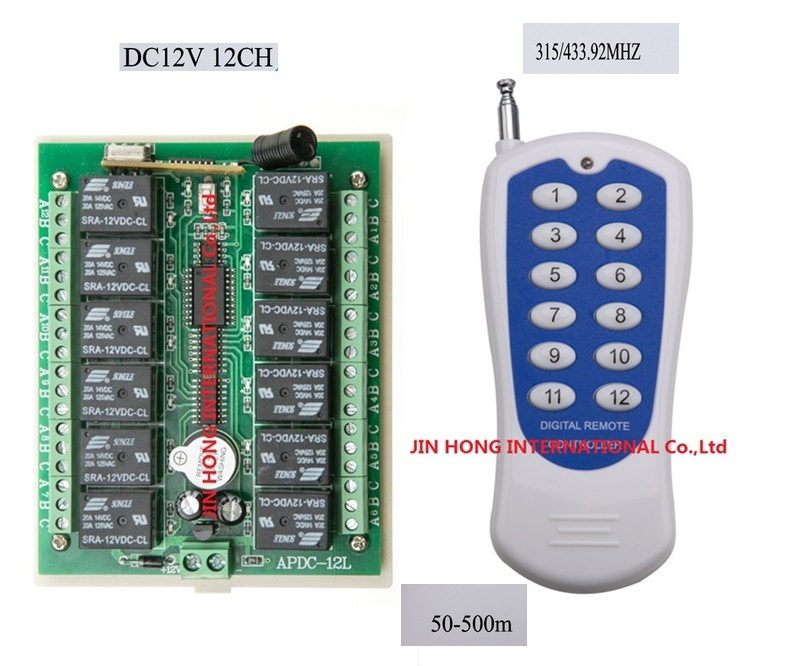 Work in  50-500M  DC12V 12CH RF Wireless Remote Control Switch system and transmitter and receiver/Radio Controller<br><br>Aliexpress