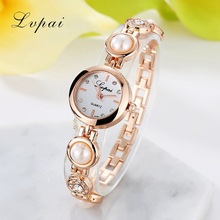 Lvpai Brand New Arrive Luxury Pearl Jewelry Watches Women Quartz WristWatches Ladies Fashion Dress Rose Dial Watches LP100