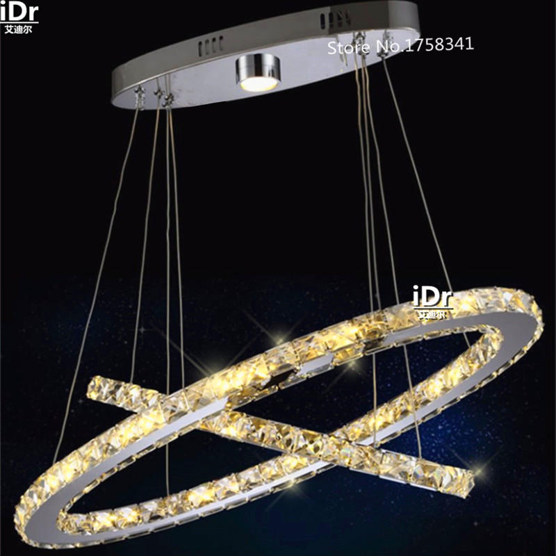 High-end European-style Suspension Light for Dining Room, Foyer, Stairs 2 Rings Crystal LED Chandelier Light Fixture<br><br>Aliexpress
