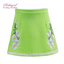 Pettigirl 2017  Green Skirt Flower Solid Knee Length Little Girl Sweat Clothing Casual Wear for Kids 3-12Y ST90312-687