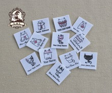 96 Custom logo labels,children's clothing tags,   Name Tags, white organic cotton labels, Personality cat, iron on