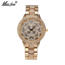MISSFOX Rose Watch Luxury Brand Flower Party Women Watches Rhinestone Gold Water Resistant Business Quartz Watch For Female Gift(China)