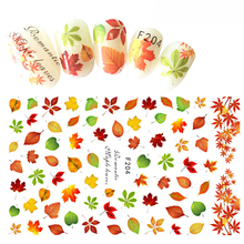 12.2x7.5cm 1 Sheet Nail Art 3D Decal Autumn Theme Nail Decor Tips Maple Leaf Pattern Sticker For Nail Beauty Care BEF204