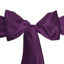 100Pcs Satin Eggplant Elegant Chair Bridal Sashes Bow Back Tie Table Runner For Wedding Party Banquet Decor Free Shipping(China)