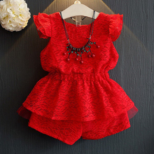 Girls Summer Sets 2017 New Red Children Clothing Sets Collect Waist Girl Pullover Lace Butterfly Sleeve Shirt+Shorts 2Pcs Suit