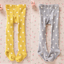New Fashion Winter Baby Kids Girl Tights Stars Printed Stockings Cotton Knitted Warm Pantyhose Children Tights Leg Warmers(China)