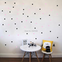 Wall Decors DIY Colorful Triangles Round Circles Stars Art Mural Decals Vinyl Stickers for Kids Room Bedroom(China)