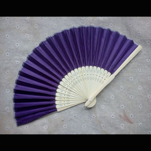 50Pcs Free Shipping Navy Silk Folding Hand Fan Personalized Wedding Souvenirs For Guests+Gift Box Organza Bag