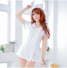 Buy GZDL Sexy Lingerie White Nursing Uniforms Sexy Costume Temptation Erotic Nurse Hat Role Playing Suit Cosplay Lingerie SY4167