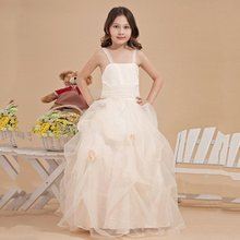 Pageant Flower Girl Dresses Pleat/Ruched/Flowers Vestidos De Primera 2017  Comunion Girls Frock Designs Wedding Party Dresses