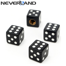 4Pcs Universal Black Dice Car Tyre Air Valve Cap Bike Bicycle Tires Valve Caps On The Wheels Car Styling Free Shipping