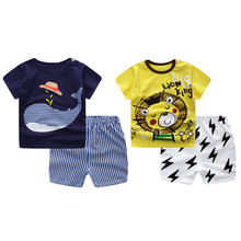 Lion King Whale Pattern Kids Children Boys Clothing Set Cotton Short Sleeve Shirt + Pant 2 PCS Kids Boys Clothes
