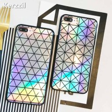 Kerzzil Laser Colorful Triangle Square Phone Case For iphone7 6 6s Abstract Geometry Back Cover For iPhone 7 8 Plus Capa(China)