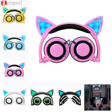 New Foldable Gaming Headset Earphone Stereo Sound Cute Headphones Cat Ear Headset with LED light Children Anime Game earphone