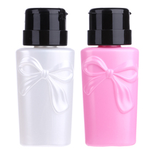 200ml Pink White Empty Pump Liquid Alcohol Press Nail Polish Remover Cleaner Bottle Dispenser Make Up Refillable Container