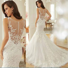 Mermaid Scoop Lace Wedding Dres Floor Length Bridal Gown White Ivory Custom Make Size 2 4 6 8 10 12 14 16 16w 18w 20w 22w