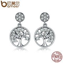 BAMOER Genuine 100% 925 Sterling Silver Tree of Life ,AAA Zircon Drop Earrings for Women Sterling Silver Jewelry Brincos SCE067(China)