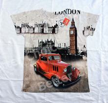 Track Ship+Vintage Retro Cool Rock&Roll Punk T-shirt Top Tee Red Bubble Car Across Road 0049